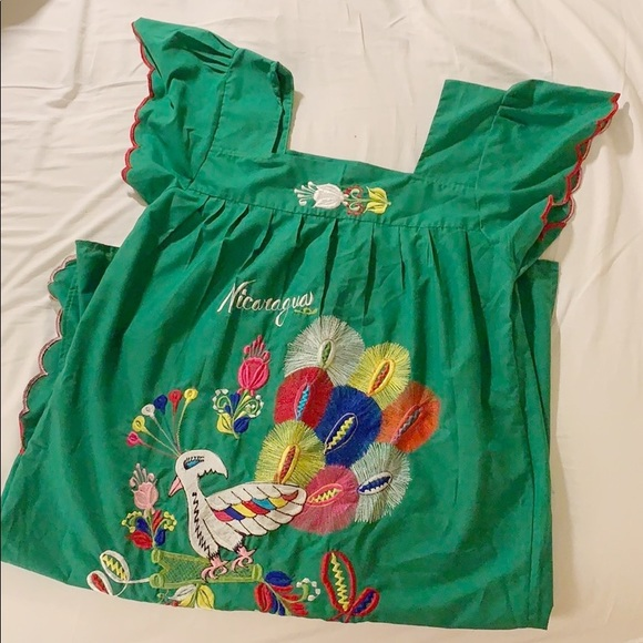 Vintage Dresses & Skirts - Genuine Nicaragua Embroidered Mumu Dress Vintage